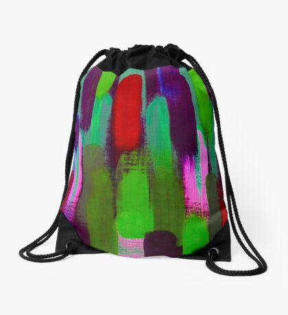 Red Green Abstract Brush Strokes Vertical Lines Drawstring Bag