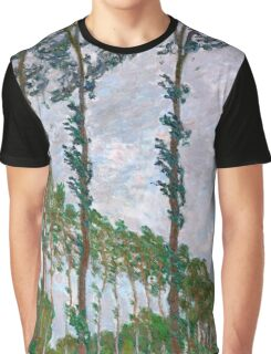 1891-Claude Monet-Wind Effect, Series of The Poplars-74 x 105 Graphic T-Shirt