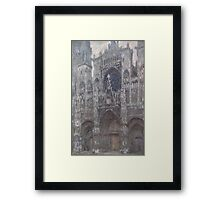 1892-Claude Monet-The Cathedral in Rouen. The portal, Grey Weather-65 x 100 Framed Print