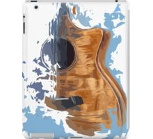 Guitar, abstract art, blue background iPad Case/Skin