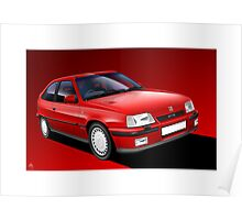 Vauxhall Astra GTE Classic Car Illustration Poster