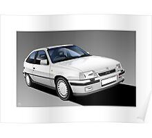 Vauxhall Astra GTE Classic Car (white) Illustration Poster