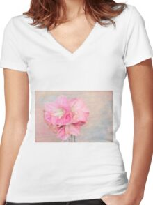 Afternoon Time With Pink Amaryllis  Women's Fitted V-Neck T-Shirt