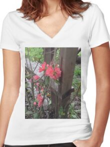 Pinky Flowers From The Garden Women's Fitted V-Neck T-Shirt