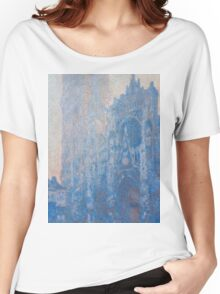 1894-Claude Monet-Rouen Cathedral Façade and Tour d'Albane (Morning Effect)-74 x 106 Women's Relaxed Fit T-Shirt