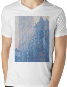 1894-Claude Monet-Rouen Cathedral Façade and Tour d'Albane (Morning Effect)-74 x 106 Mens V-Neck T-Shirt