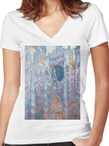1894-Claude Monet-Rouen Cathedral, West Façade-65 x 100 Women's Fitted V-Neck T-Shirt