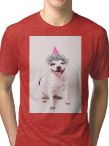 Cassie in party hat! Tri-blend T-Shirt