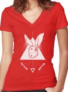 Lunar Hare Ink Illustration   Dark Version Women's Fitted V-Neck T-Shirt