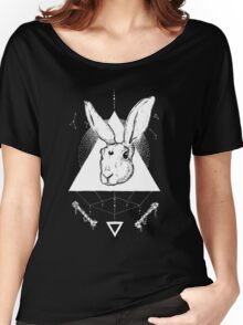 Lunar Hare Ink Illustration | Dark Version Women's Relaxed Fit T-Shirt
