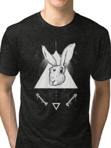 Lunar Hare Ink Illustration | Dark Version Tri-blend T-Shirt