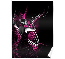 spanish flamenco dancer with purple color Poster