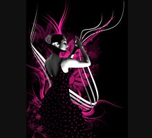 spanish flamenco dancer with purple color Women's Fitted V-Neck T-Shirt