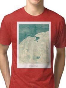 Havana Map Blue Vintage Tri-blend T-Shirt