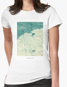 Havana Map Blue Vintage Womens Fitted T-Shirt