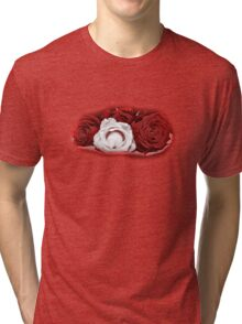 Deep Red and White Roses Tri-blend T-Shirt