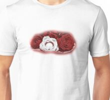 Deep Red and White Roses Unisex T-Shirt
