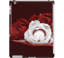 Deep Red and White Roses iPad Case/Skin