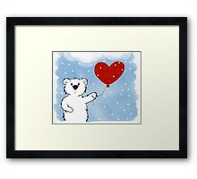 Snowy Bear in Love Framed Print