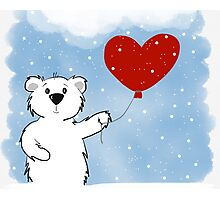 Snowy Bear in Love Photographic Print