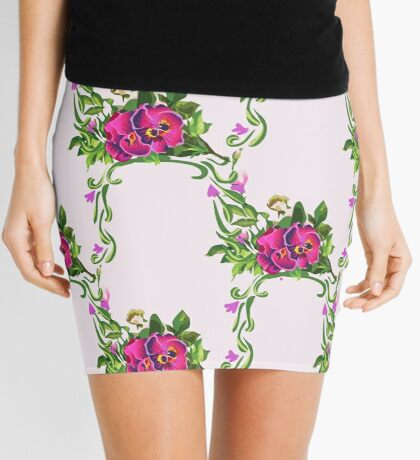 Watercolor Wildflowers Pansy Bouquet Mini Skirt