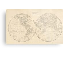 Vintage Map of The World (1857) Metal Print