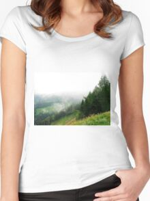 Low Cloud Over Carnic Alps Near Sauris Women's Fitted Scoop T-Shirt