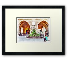 Teramo: arches and fountain Framed Print