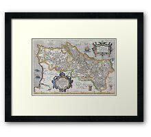 Vintage Map of Portugal (1579) Framed Print