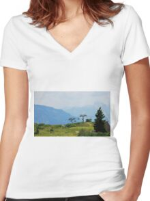 Landscape on Monte Zoncolan Women's Fitted V-Neck T-Shirt