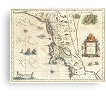 Vintage Map of New England (1635) Canvas Print