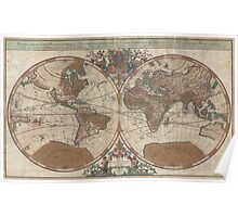 Vintage Map of The World (1691) 2 Poster
