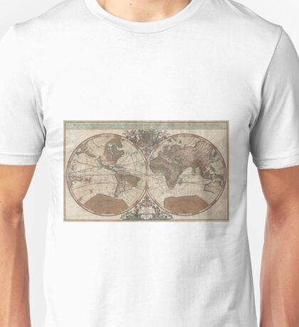 Vintage Map of The World (1691) 2 Unisex T-Shirt