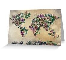 floral world map Greeting Card