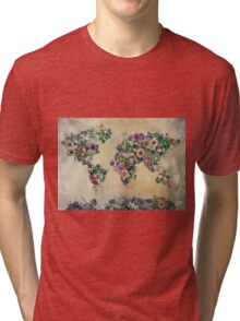 floral world map Tri-blend T-Shirt