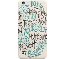 Hank Green Quote iPhone Case/Skin