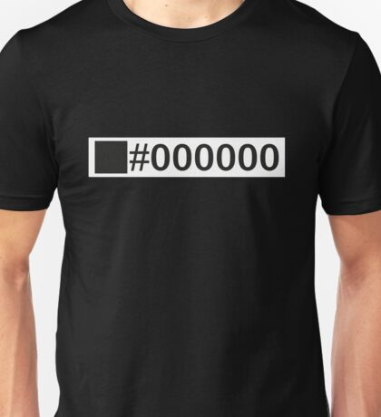 Colour Black #000000 Unisex T-Shirt