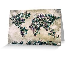 floral world map 3 Greeting Card