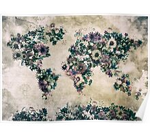 floral world map 3 Poster