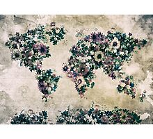 floral world map 3 Photographic Print