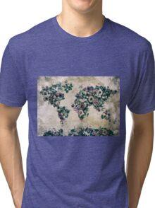 floral world map 3 Tri-blend T-Shirt