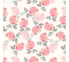 Hand-drawn beautiful roses. Seamless watercolor pattern Photographic Print