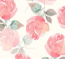 Hand-drawn beautiful roses. Seamless watercolor pattern Sticker