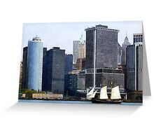 Boats - Schooner Against the Manhattan Skyline Greeting Card