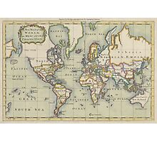 Vintage Map of The World (1766) Photographic Print