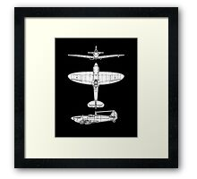 British, Supermarine, Spitfire, Supermarine, Spitfire,  Fighter, WWII, 1942, Fighter, WWII, 1942, on BLACK Framed Print