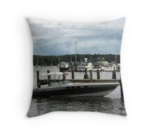 Stormy Day At The Harbor Essex CT Throw Pillow