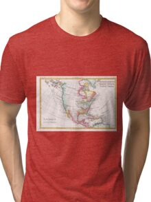 Vintage Map of North America (1780) Tri-blend T-Shirt