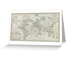 Vintage Map of The World (1784) Greeting Card