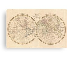 Vintage Map of The World (1799) 3 Canvas Print